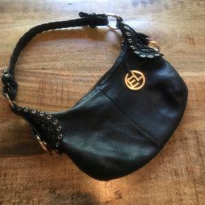 Elliot Lucca black leather shoulder bag purse